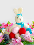 Cute crochet rabbit  doll Stock Photos