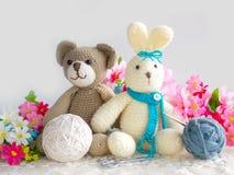Cute crochet rabbit and teddy bear  doll Stock Image