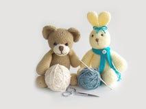 Cute crochet rabbit and teddy bear  doll Stock Photos