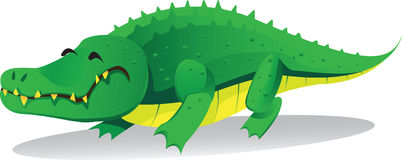 Cute crocodile. Cute green crocodile cartoon vector Stock Images
