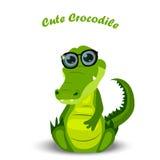 Cute crocodile or alligator. High quality original trendy vector illustration of a cute crocodile or alligator in glasses stock illustration