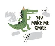 Cute crocodile dancing illustration with text You make me smile on hand drawn shapes background. Vector flat cartoon illustration for card, poster, nursery vector illustration