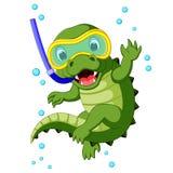 Cute crocodile diving cartoon. Illustration of Cute crocodile diving cartoon Stock Photo