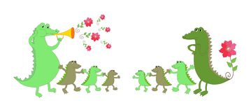 Cute crocodile family - mother, father and six kids. Royalty Free Stock Image