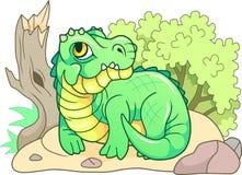 Cute crocodile lies on the shore, funny illustration Stock Photos