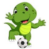 Cute crocodile playing football Royalty Free Illustration