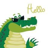 Cute crocodile says hello. Vector cartoon character, cute crocodile says hello Stock Illustration