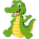 Cute crocodile waving hand Stock Images