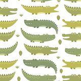 Cute crocodiles seamless pattern Stock Photos