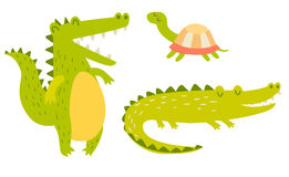 Cute crocodiles and turtle family. Vector illustration Stock Photo
