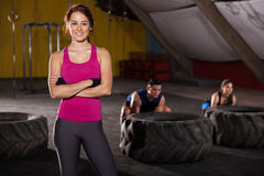 Cute cross-training instructor stock image