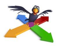 Cute  Crow cartoon character  with arrow Stock Photo