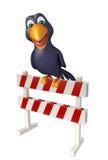 Cute Crow cartoon character with baracade Royalty Free Stock Photo