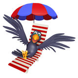 Cute Crow cartoon character  with beach chair Stock Photography