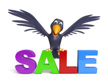 Cute  Crow cartoon character  with bigsale sign Royalty Free Stock Image