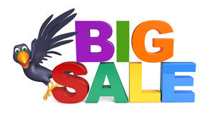Cute  Crow cartoon character  with bigsale sign Stock Photography