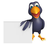 cute Crow cartoon character with board Royalty Free Stock Image