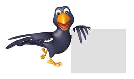 cute Crow cartoon character with board Stock Photo