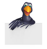 cute Crow cartoon character with board Stock Image