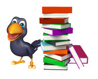Cute Crow cartoon character with books. 3d rendered illustration of Crow cartoon character with books Royalty Free Stock Images