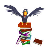 Cute Crow cartoon character with books. 3d rendered illustration of Crow cartoon character with books Stock Photo