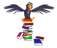 Cute Crow cartoon character with books. 3d rendered illustration of Crow cartoon character with books Royalty Free Stock Photos