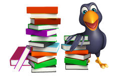 Cute Crow cartoon character with books. 3d rendered illustration of Crow cartoon character with books Stock Photos