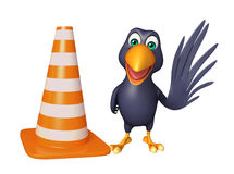 Cute Crow cartoon character   with  construction cone Royalty Free Stock Images