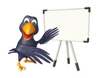 Cute Crow cartoon character with display  board Stock Photography