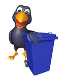 Cute Crow cartoon character with dustbin Royalty Free Stock Image