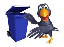 Cute Crow cartoon character with dustbin Stock Image