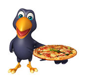 Cute Crow cartoon character with pizza Royalty Free Stock Photography