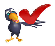 Cute Crow cartoon character with right  sign Royalty Free Stock Images