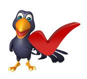 Cute Crow cartoon character with right  sign Stock Photos