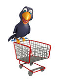 Cute Crow cartoon character  with trolly Royalty Free Stock Photography