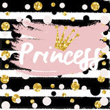 Cute crown and princess saying. Cute bunting as festive glitter letters and crown for your decoration, can be used for birthday or baby shower invitation card Stock Photography