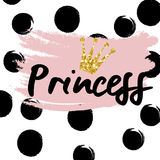 Cute crown and princess saying. Cute bunting as festive glitter letters and crown for your decoration, can be used for birthday or baby shower invitation card Stock Photo
