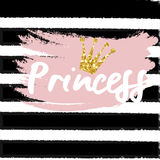 Cute crown and princess saying. Cute bunting as festive glitter letters and crown for your decoration, can be used for birthday or baby shower invitation card Royalty Free Stock Images