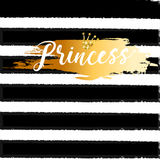Cute crown and princess saying. Cute bunting as festive glitter letters and crown for your decoration, can be used for birthday or baby shower invitation card Stock Photos