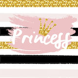 Cute crown and princess saying. Royalty Free Stock Images