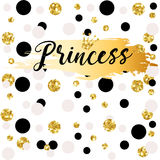 Cute crown and princess saying. Cute bunting as festive glitter letters and crown for your decoration, can be used for birthday or baby shower invitation card Royalty Free Stock Photography