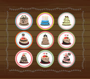 Cute cubcakes tags Stock Photography