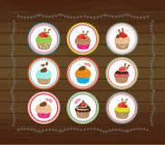 Cute cubcakes tags Stock Photo