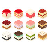 Cute cube cake and jelly Stock Photos