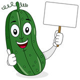 Cute Cucumber Character & Blank Banner Royalty Free Stock Image