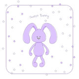 Cute cuddly rabbit. Vector illustration of a cute cuddly rabbit in pastel violet hues, with small eyes and long floppy ears, with text `Sweet bunny`. Design Stock Images
