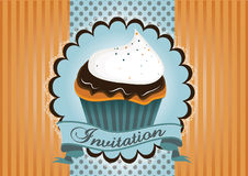 Cute cup cake invitation Stock Images