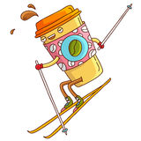 Cute cup of coffee goes to the yellow skis. Cute and cheerful cup of coffee goes to the yellow skis. Vector illustration on white background stock illustration