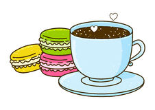 Cute cup of coffee with macarons Royalty Free Stock Photo
