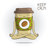 Cute cup of coffee sitting in the lotus position. Royalty Free Stock Photo